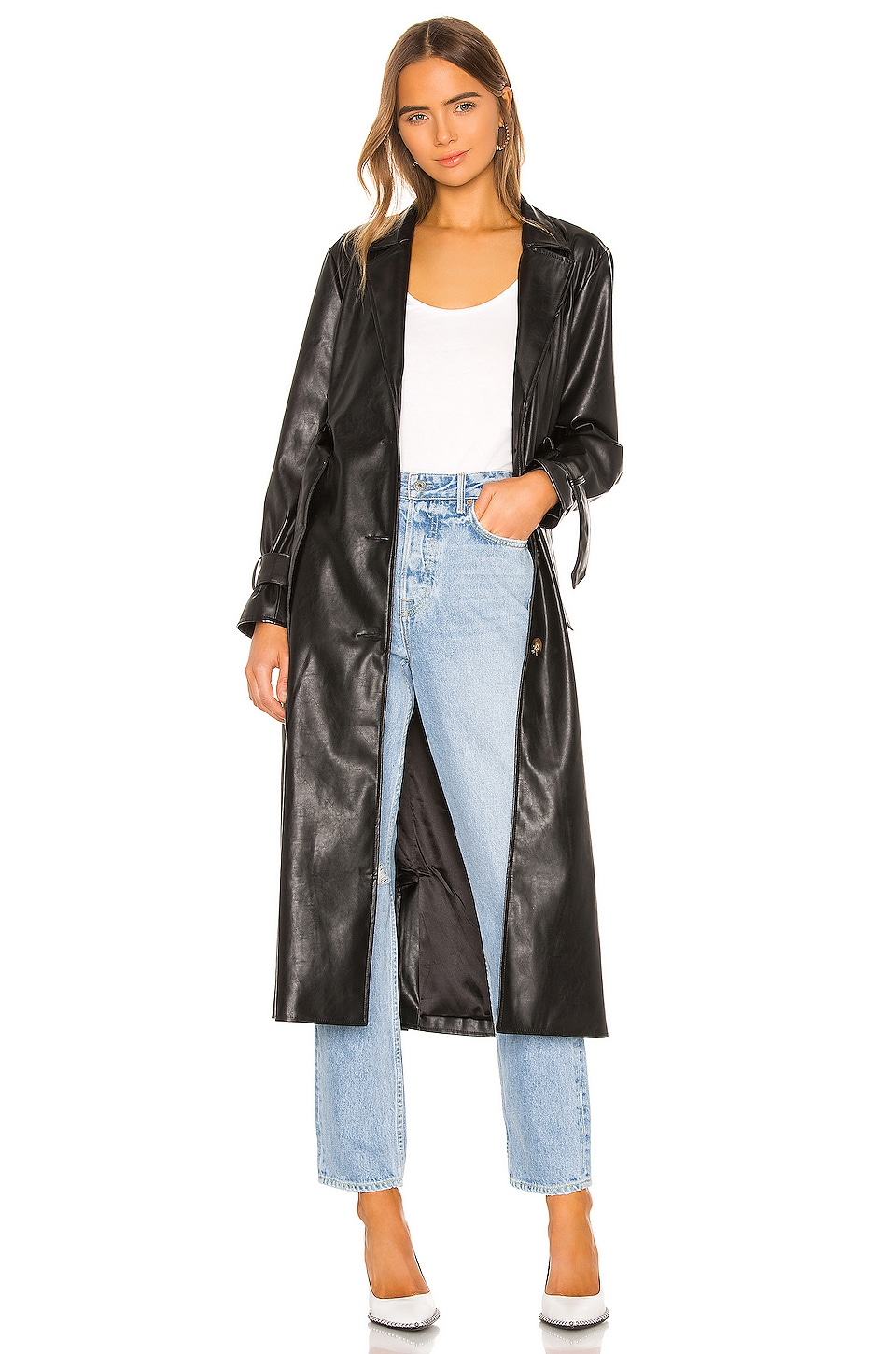 KENDALL + KYLIE Leather Duster Jacket in Black