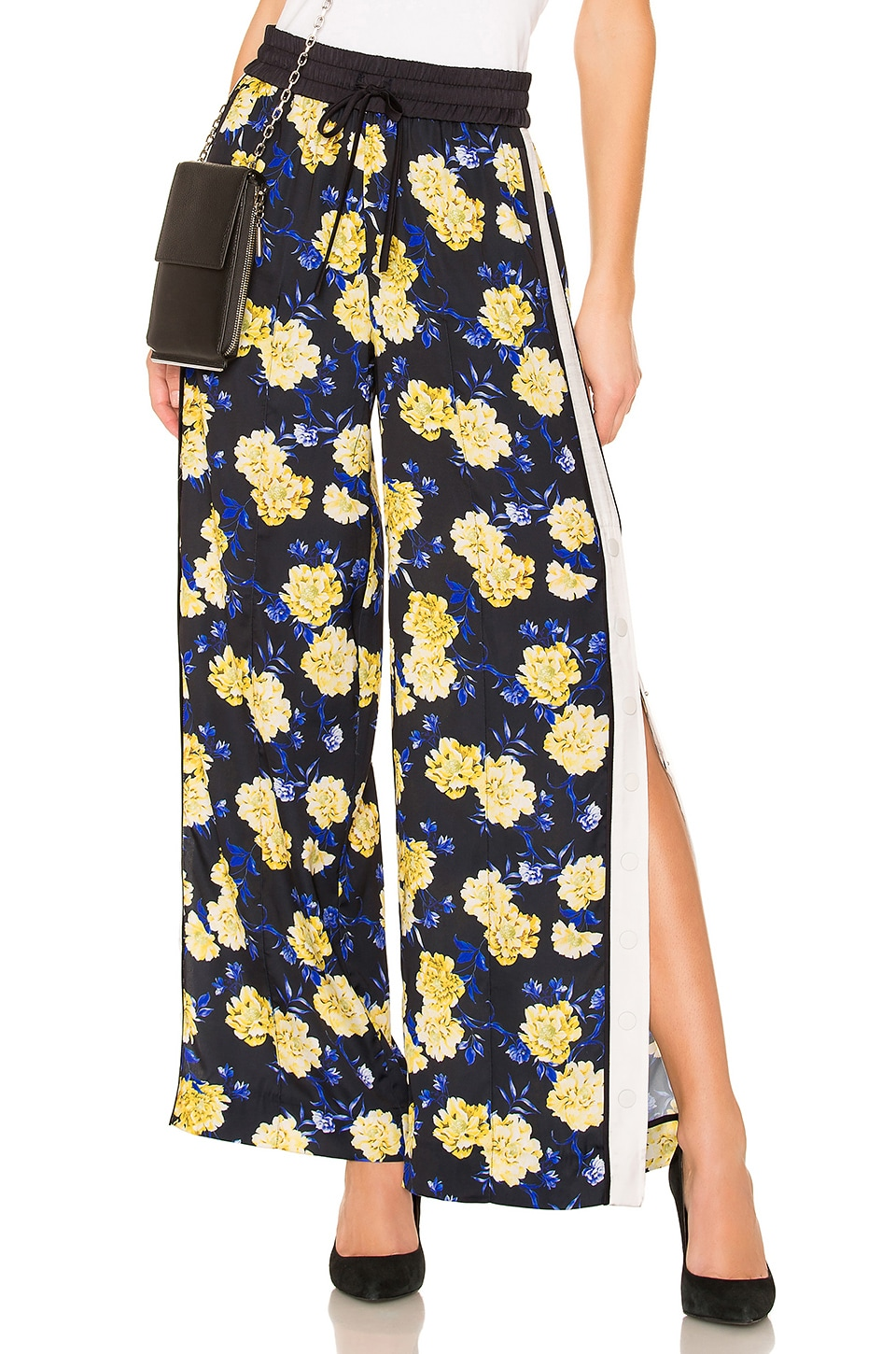 KENDALL + KYLIE Snap Side Track Pant in Yellow Floral