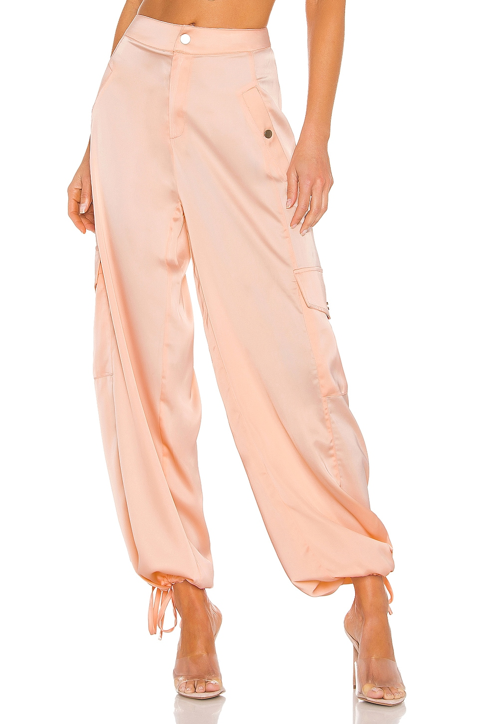 KENDALL + KYLIE Satin Cargo Pant in Blush