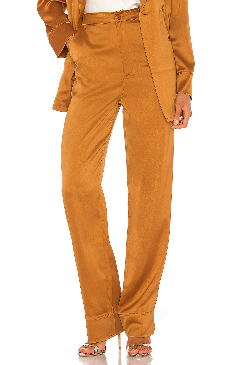 KENDALL + KYLIE Charlie Satin Pant in Butterscotch