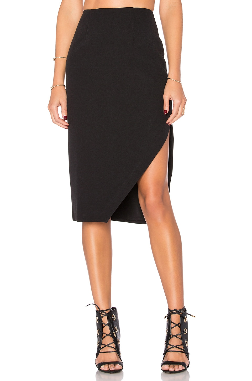 KENDALL + KYLIE Slit Midi Skirt in Black