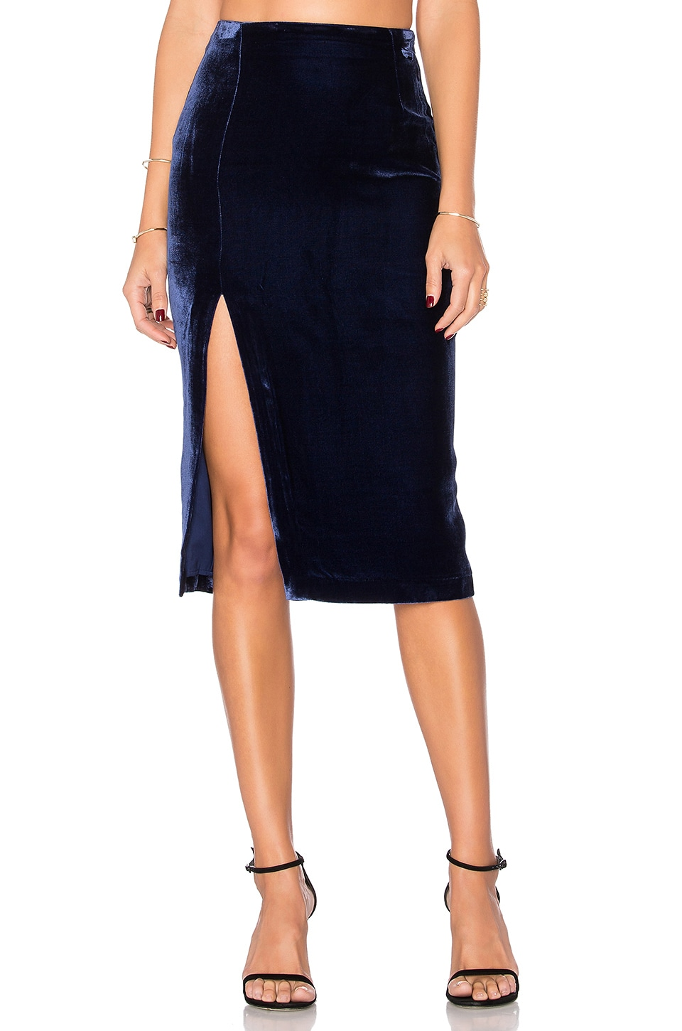 KENDALL + KYLIE Velvet Midi Skirt in Midnight Navy