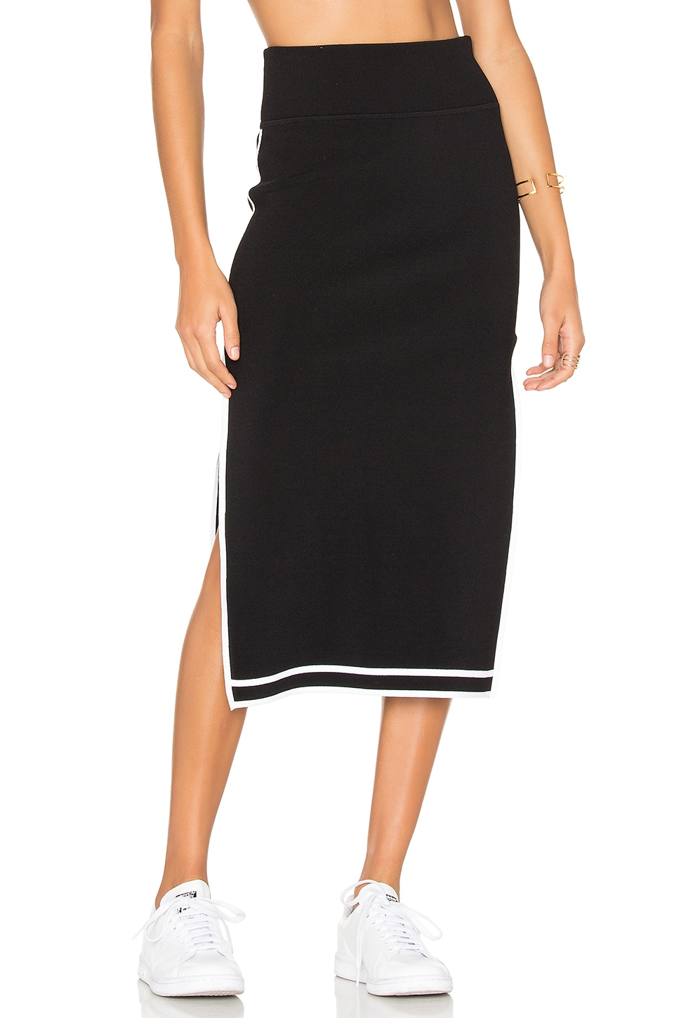 KENDALL + KYLIE Sports Border Skirt in Black & White