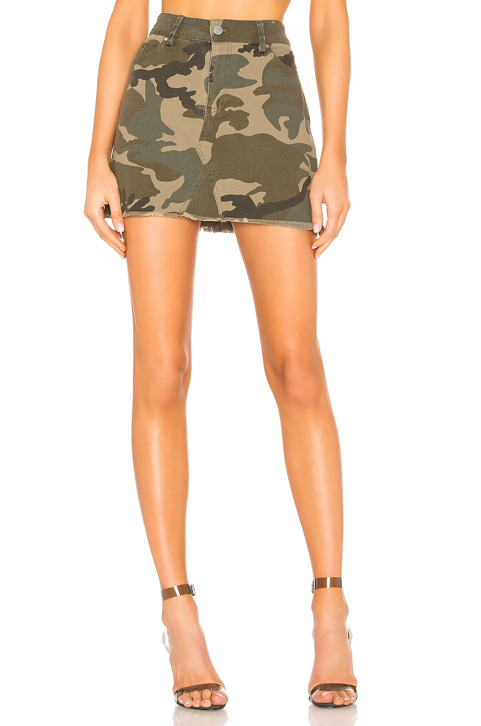 KENDALL + KYLIE Five Pocket Denim Skirt in Camo