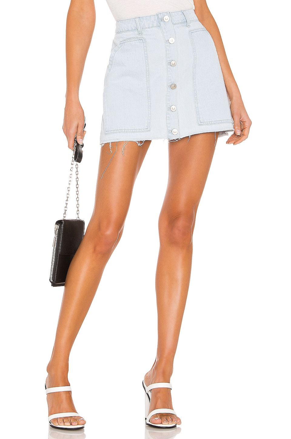 KENDALL + KYLIE Fashion Denim Mini Skirt in Powder Blue Wash