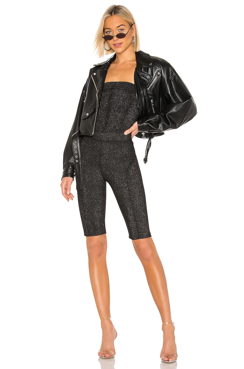 KENDALL + KYLIE Metallic Stretch Strapless Bike Short Catsuit in Black