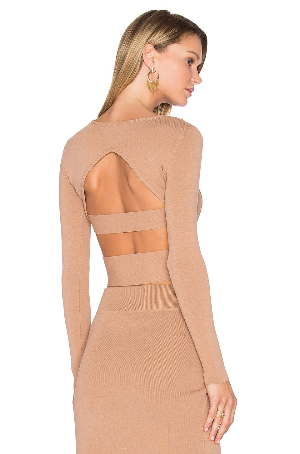 KENDALL + KYLIE Compact Long Sleeve Crop Top in Macaroon