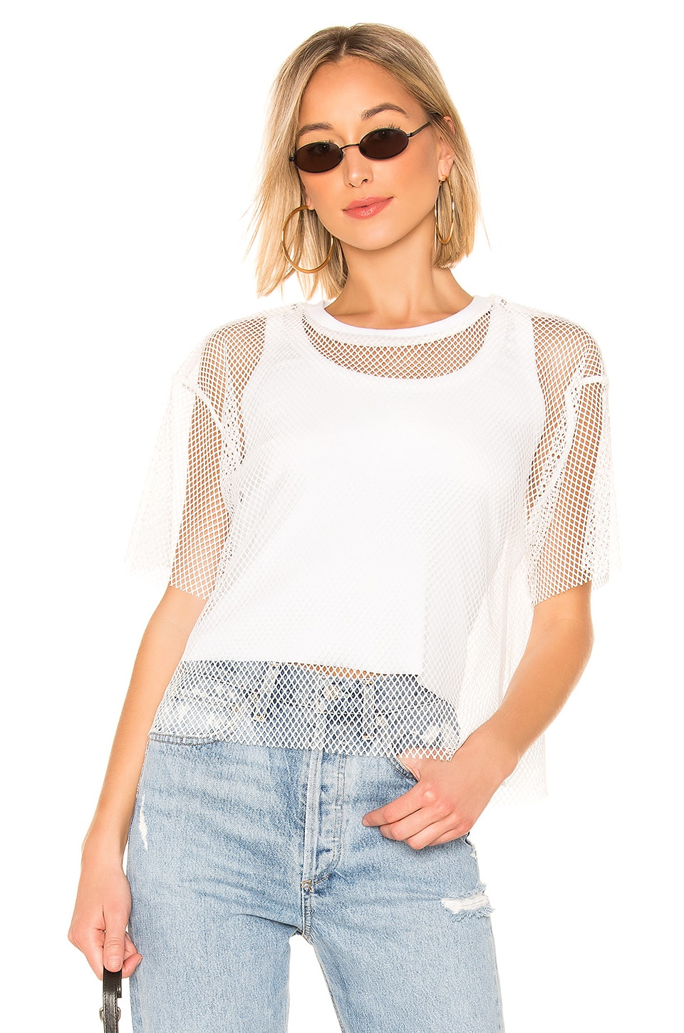 KENDALL + KYLIE Fish Net Mesh Tee in White