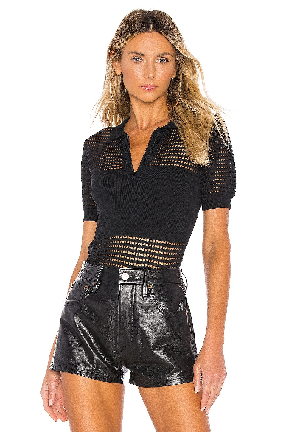 KENDALL + KYLIE X REVOLVE Mesh Stitch Polo in Black