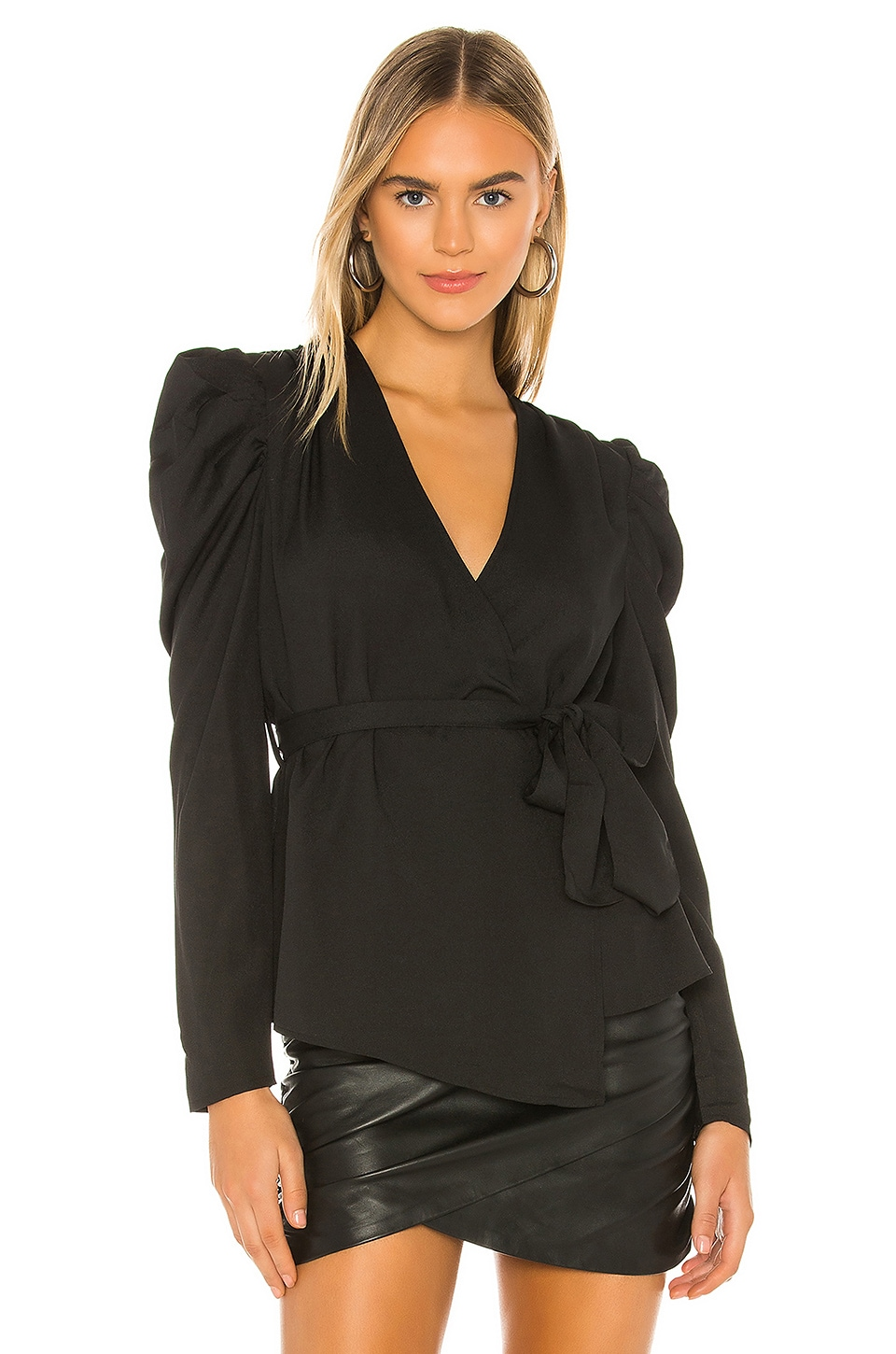 KENDALL + KYLIE Bianca Wrap Top in Black