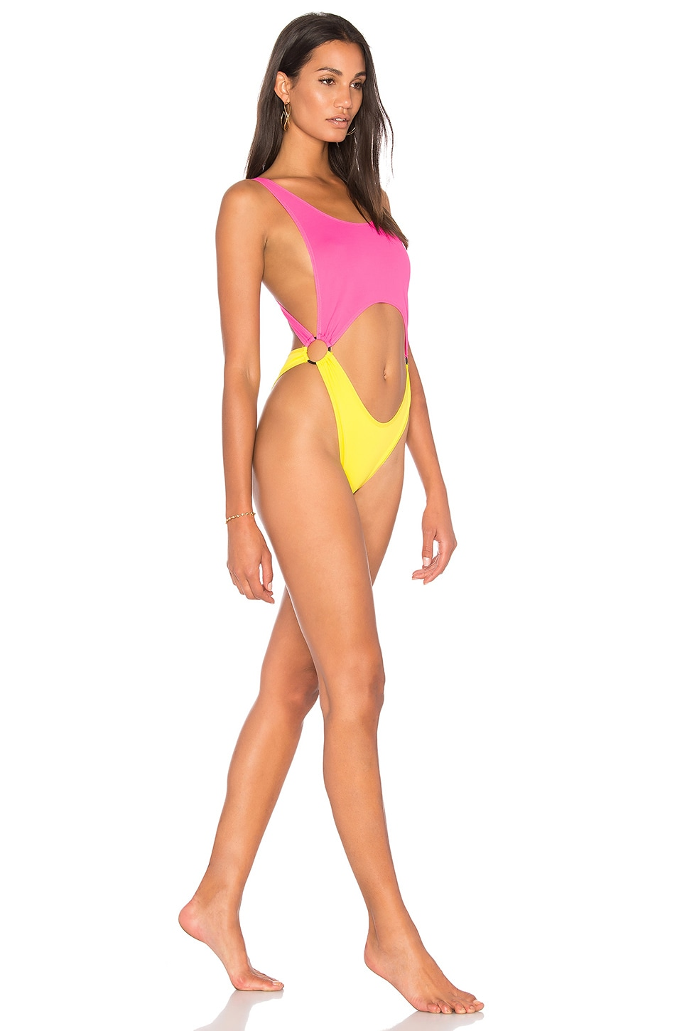 KENDALL + KYLIE x REVOLVE Cutout One Piece in Blazing Yellow & Neon Pink