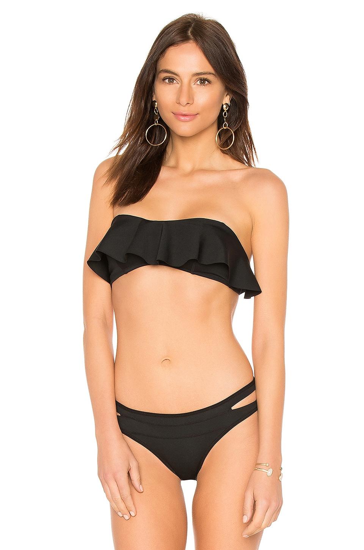 KENDALL + KYLIE Ruffle Bandeau Bikini Top in Black