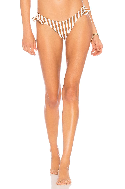 KENDALL + KYLIE Frill Bikini Bottom in Cathay Stripe