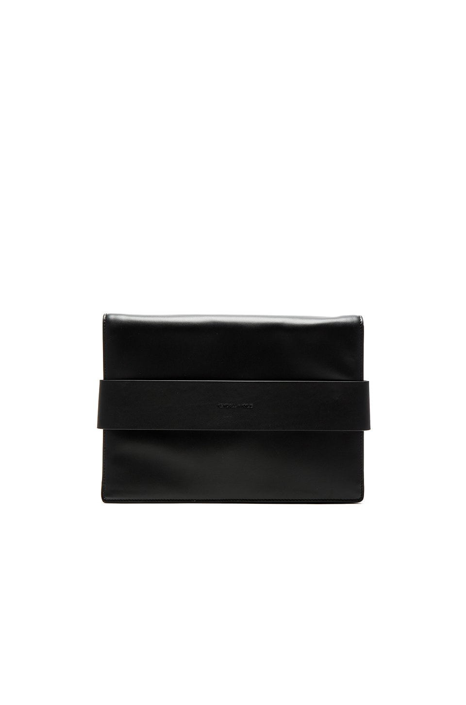 KENDALL + KYLIE Azuba Clutch in Black Smooth Leather