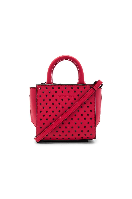 KENDALL + KYLIE Brook Nano Studs Satchel Bag in Ruby Red