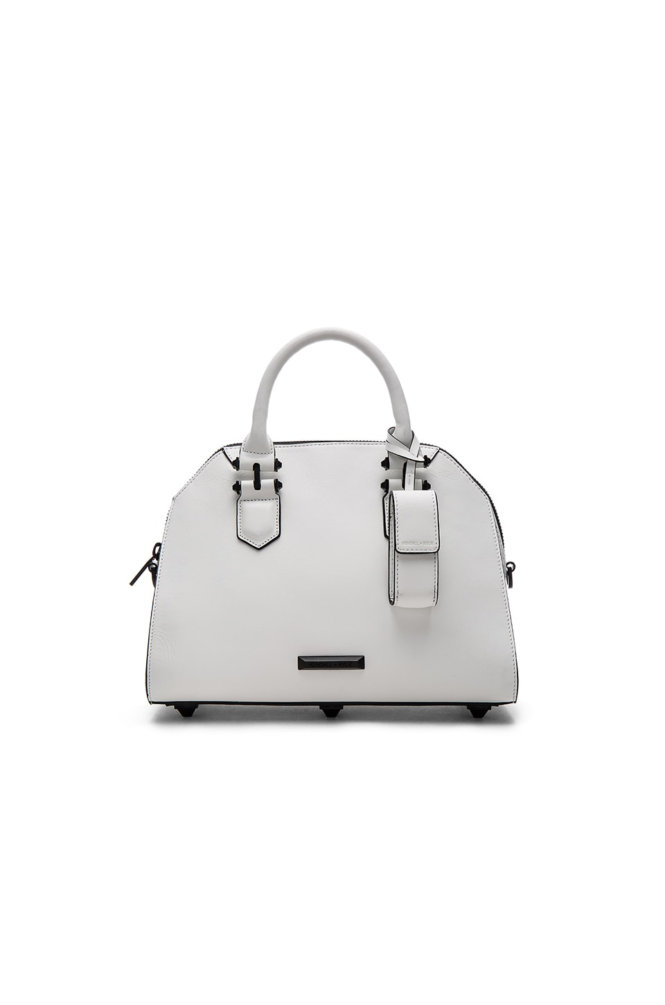 KENDALL + KYLIE Holly Satchel in White Smooth Leather