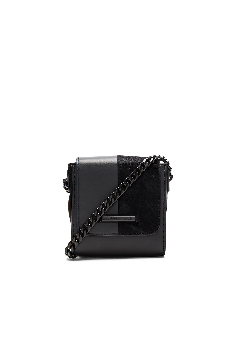 KENDALL + KYLIE Violet Crossbody in Black Smooth Leather & Pony Hair