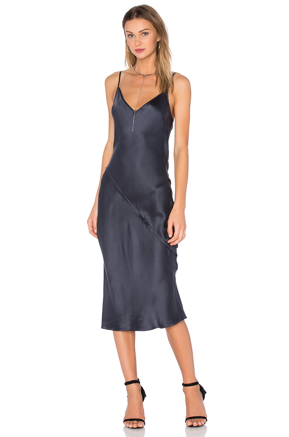 KES Bias Slip Dress in Midnight