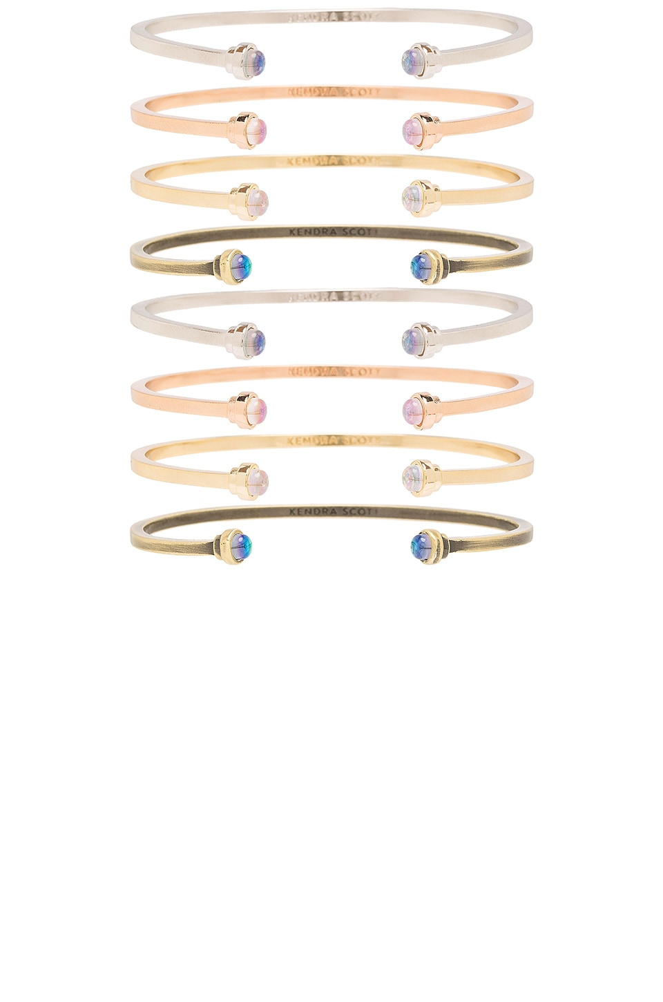 Kendra Scott Kriss Set Of 8 Bracelet in Gold, Rhodium, Rose Gold, Antique Brass & Dichroic Glass
