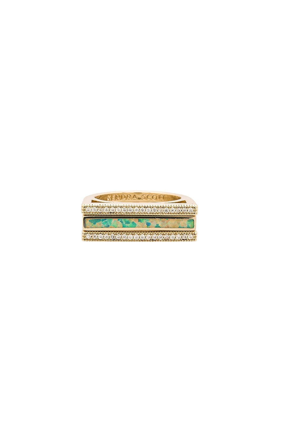 Kendra Scott Lucia Set Of 3 Ring in Gold, Aqua Kyocera Opal & White CZ Pave