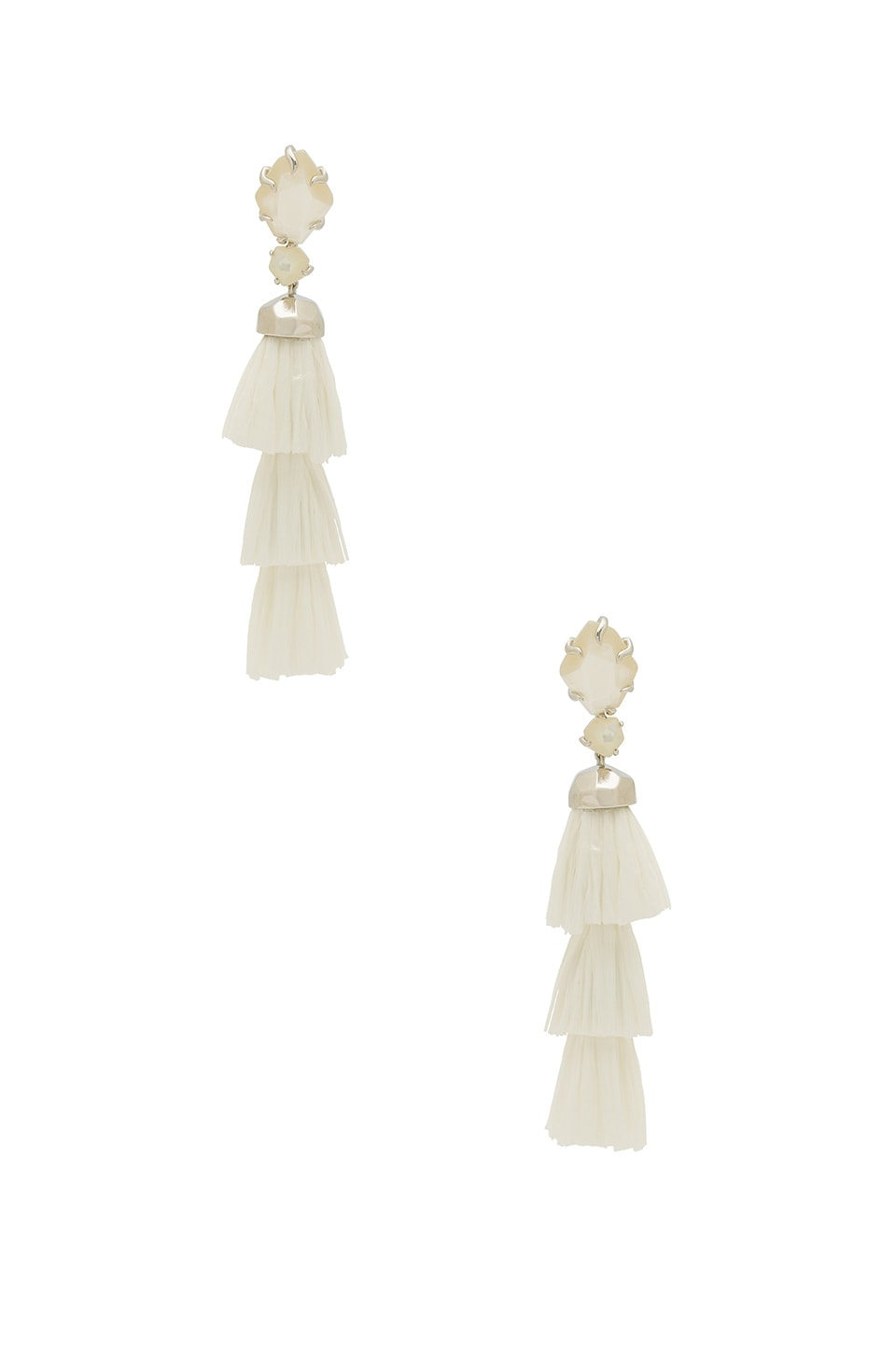 Kendra Scott Denise Earrings in Rhodium & Ivory Mother of Pearl