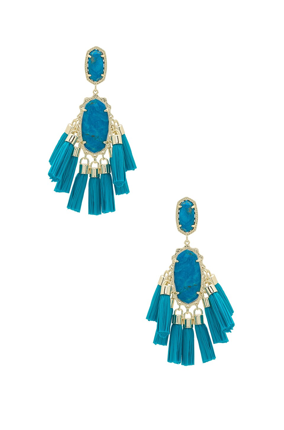 Kendra Scott Kristen Earrings in Gold & Aqua Howlite