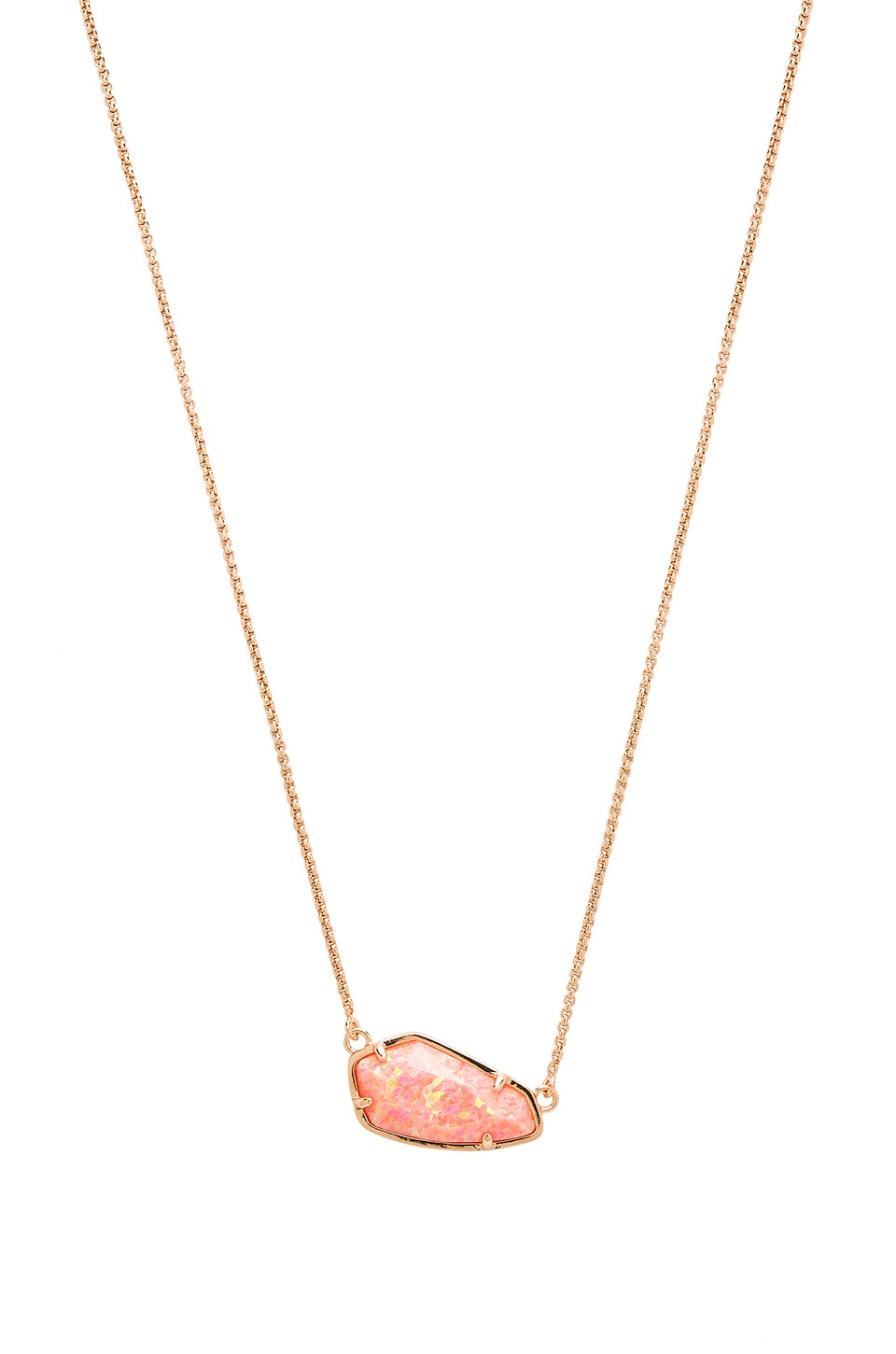 Kendra Scott Cami Necklace in Rose Gold & Coral Kyocera Opal