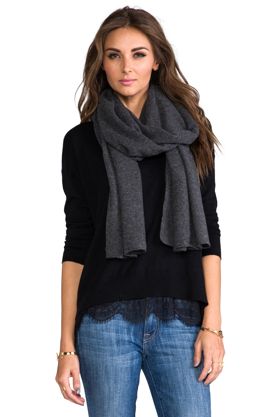 Kingsley Cashmere Scarf in Charcoal