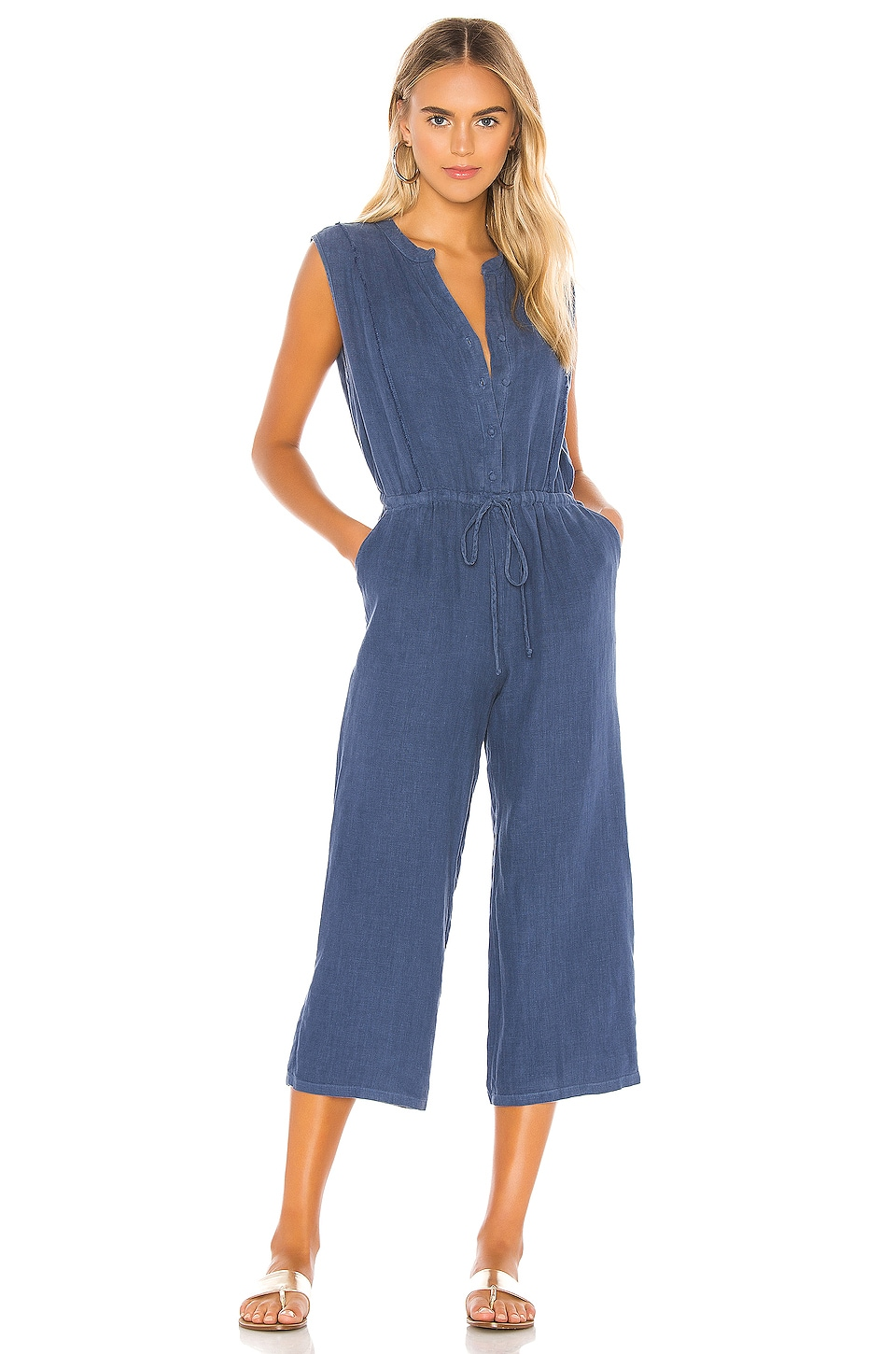 krisa Button Front Cropped Jumpsuit in Stream