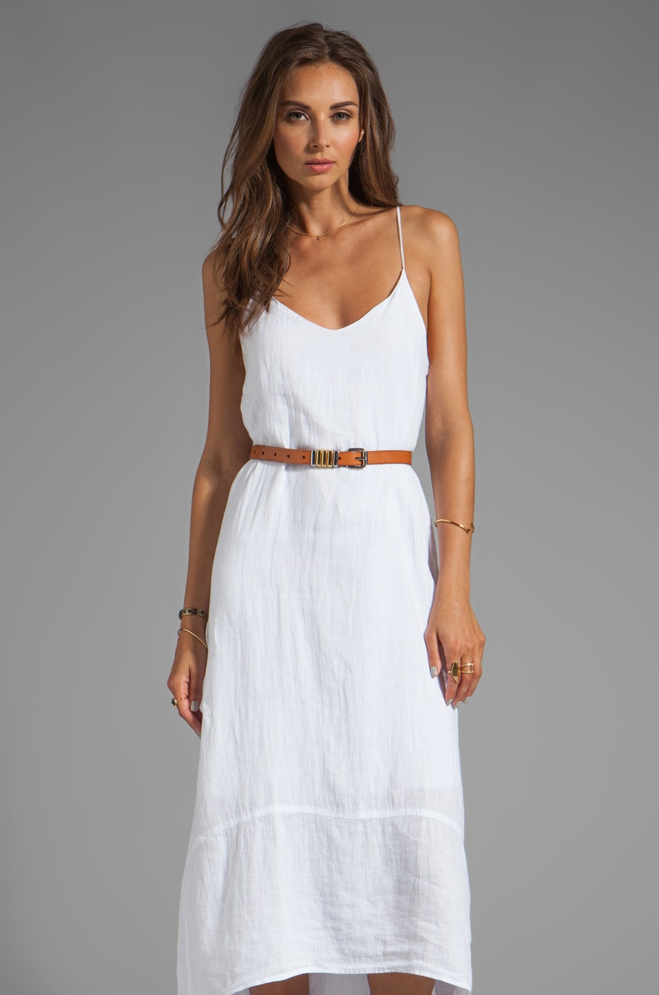 krisa Hi-Lo Maxi Tank Dress in White