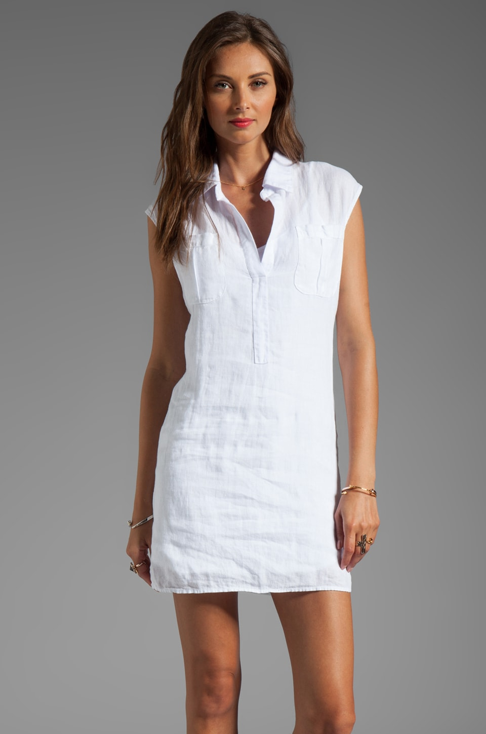 krisa Sleeveless Safari Dress with Cami Slip Dress in White