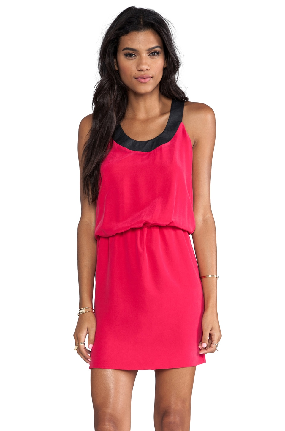 krisa Washed Silk Contrast Tank Dress in Geranium