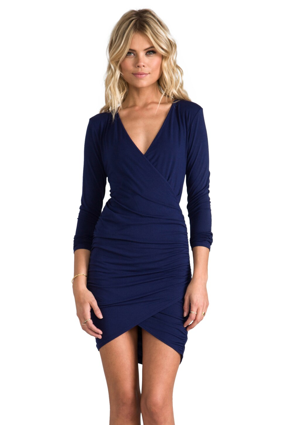 krisa Long Sleeve Cross Dress in Navy