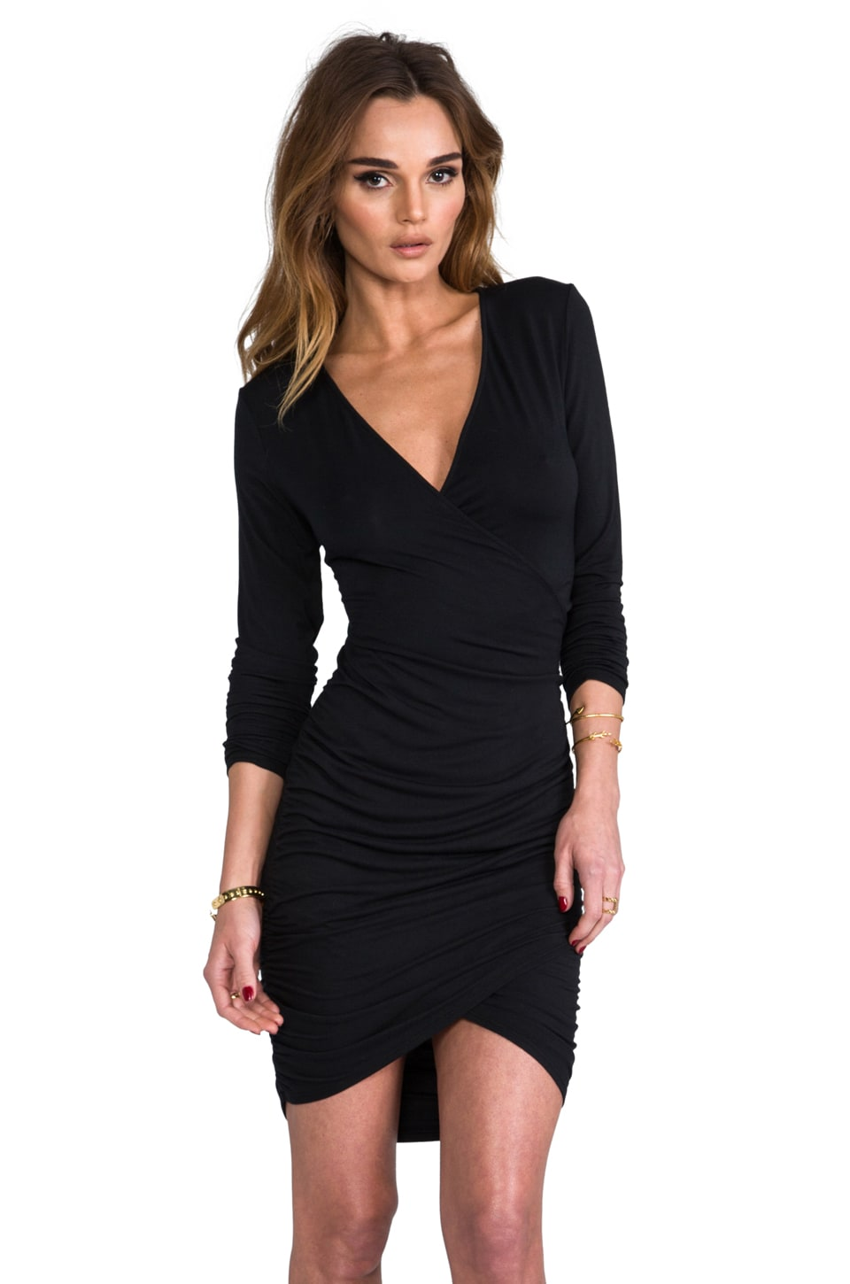 krisa Long Sleeve Cross Dress in Black