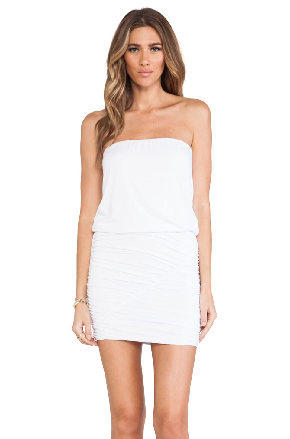krisa Ruched Tube Mini Dress in White