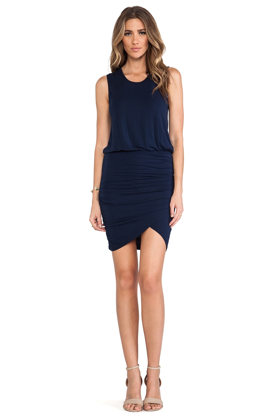 krisa Wrap Skirt Tank Dress in Navy