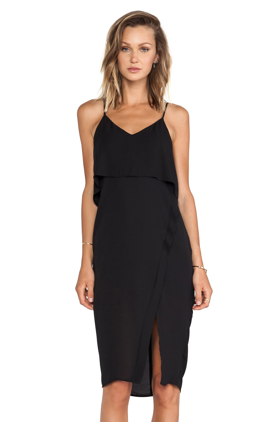 krisa Double Layer Asymmetrical Dress in Black