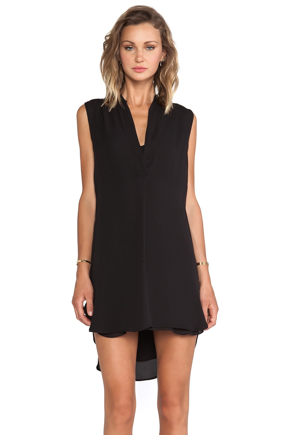 krisa V Cami Slip Dress in Black