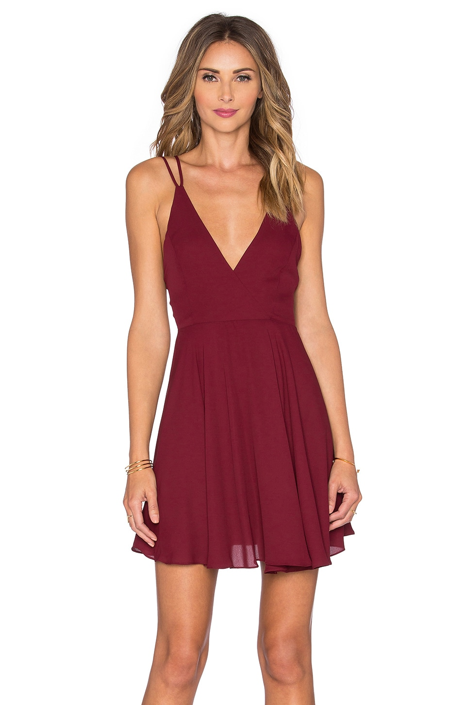 krisa Cross Back Mini Dress in Port
