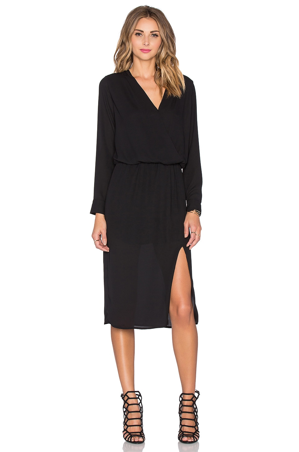 krisa Surplice Midi Dress in Black