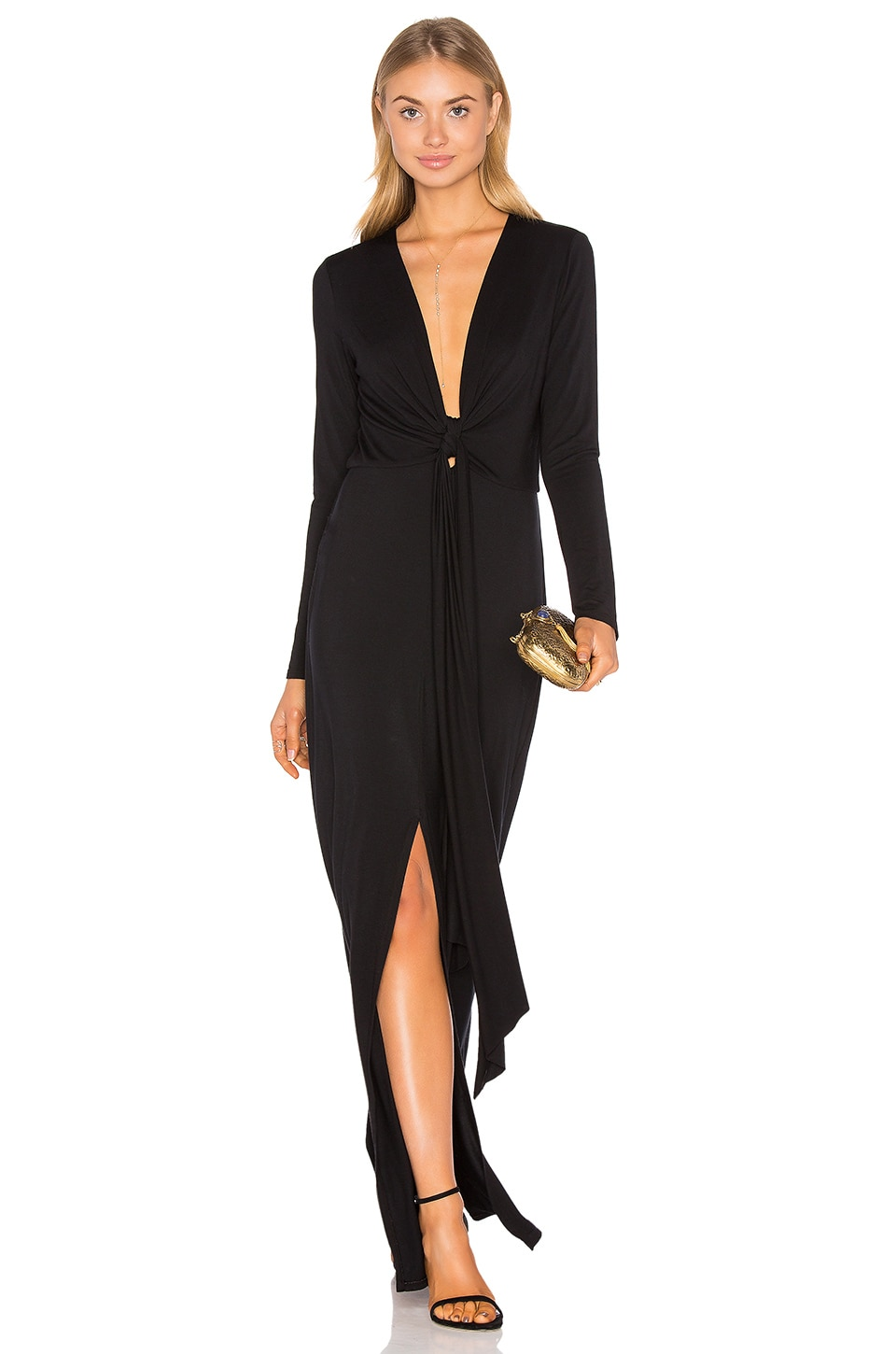 Deep V Tie Front Maxi Dress by krisa