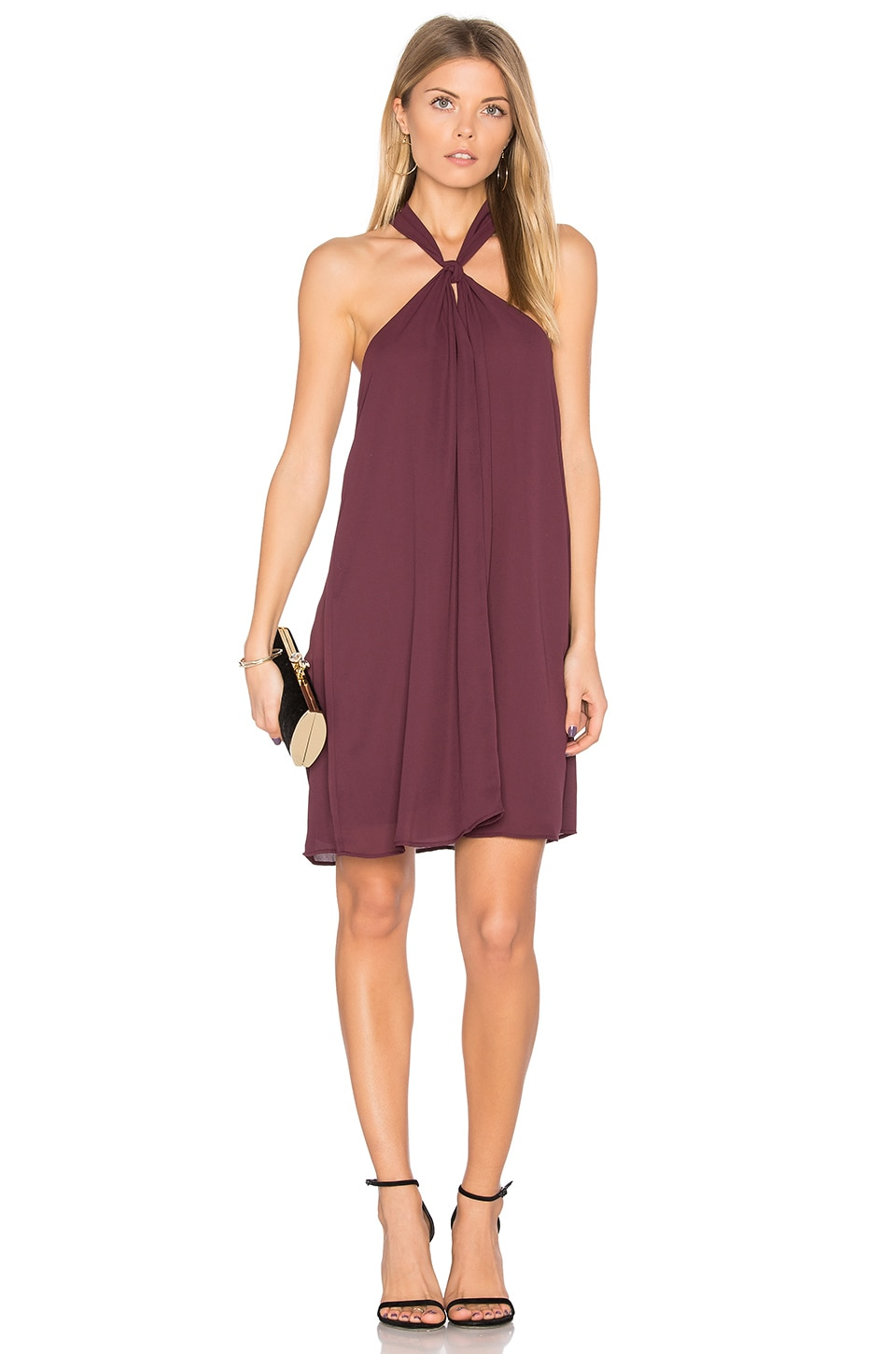 krisa Loop Front Mini Dress in Winterberry