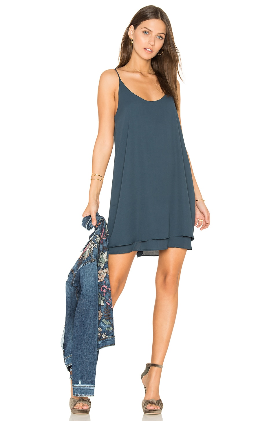 krisa Double Layer Cami Mini Dress in Newport
