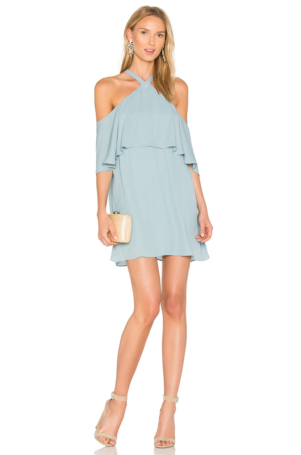 krisa Off Shoulder Halter Dress in Brook