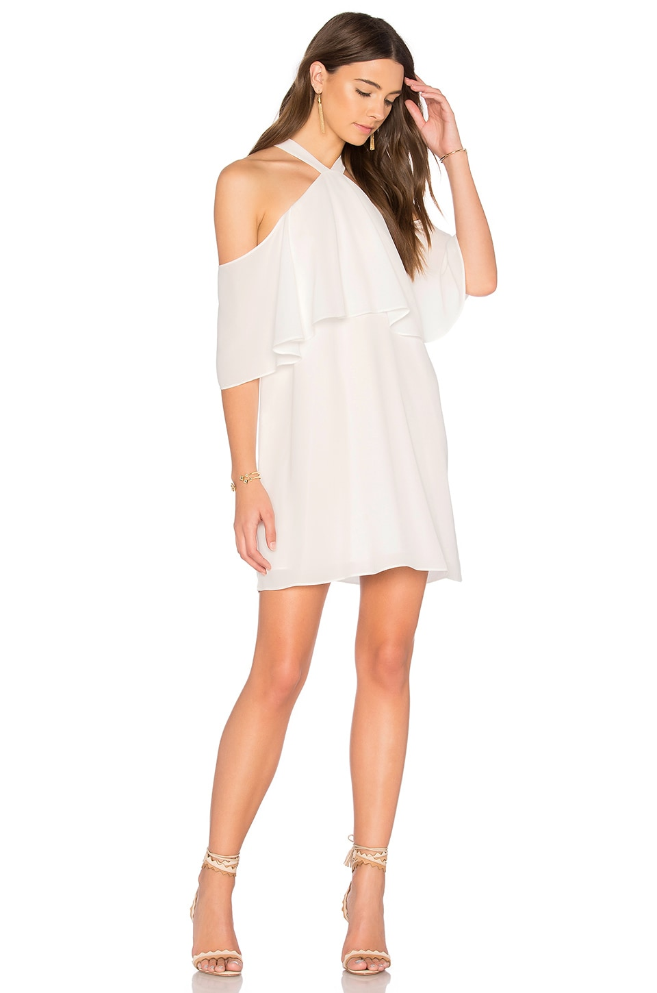 krisa Off Shoulder Halter Dress in White