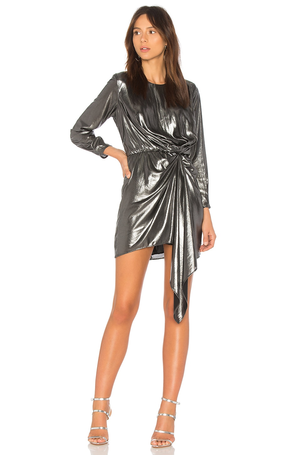 krisa Seymore Draped Dress in Gunmetal