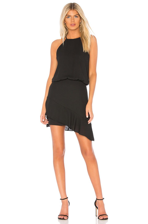 krisa Halter High Low Mini Dress in Black