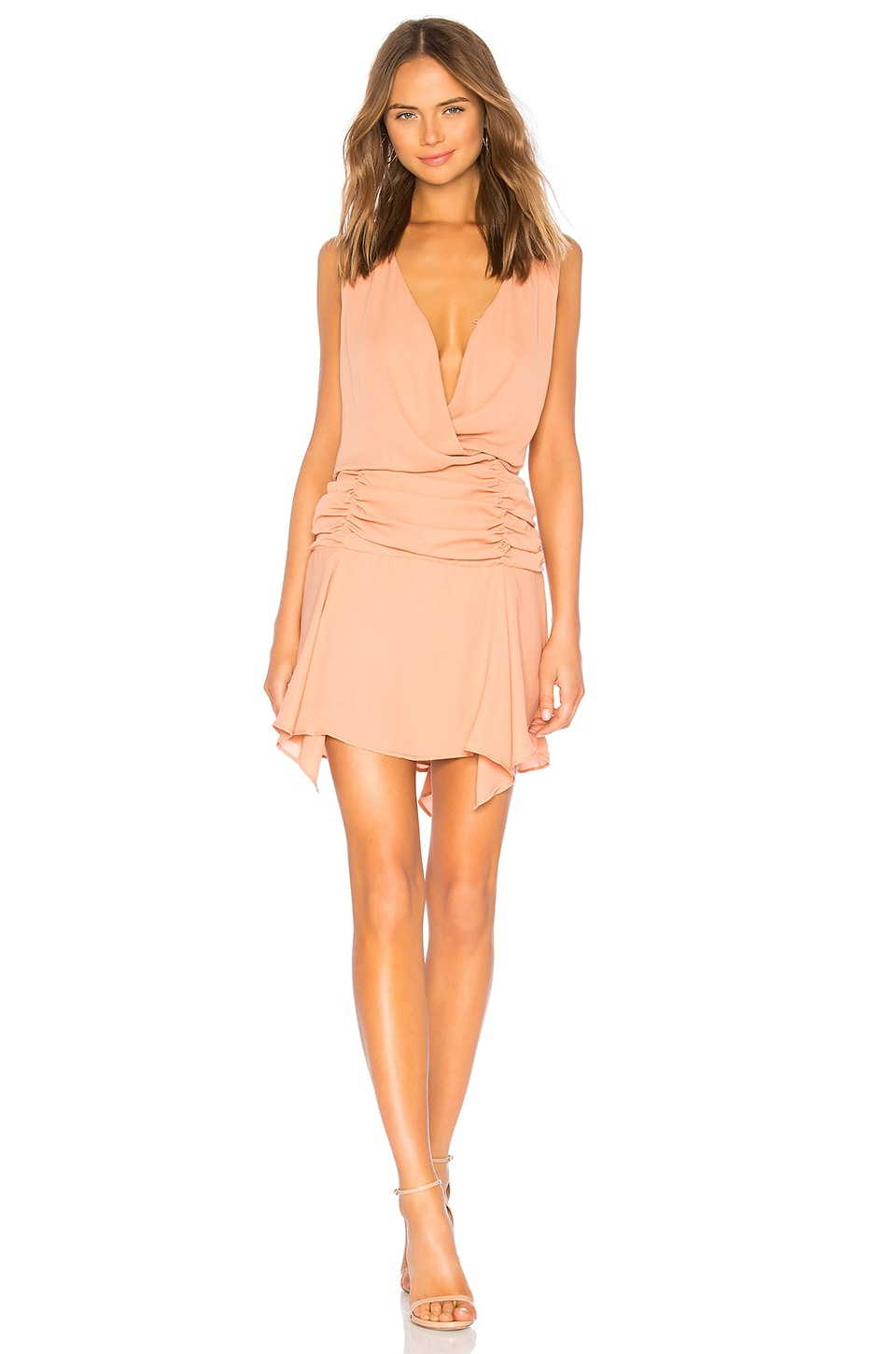 KRISA Surplice Tank Dress in Blush