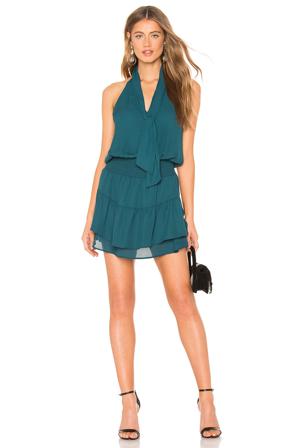 KRISA Scarf Neck Halter Mini Dress in Teal