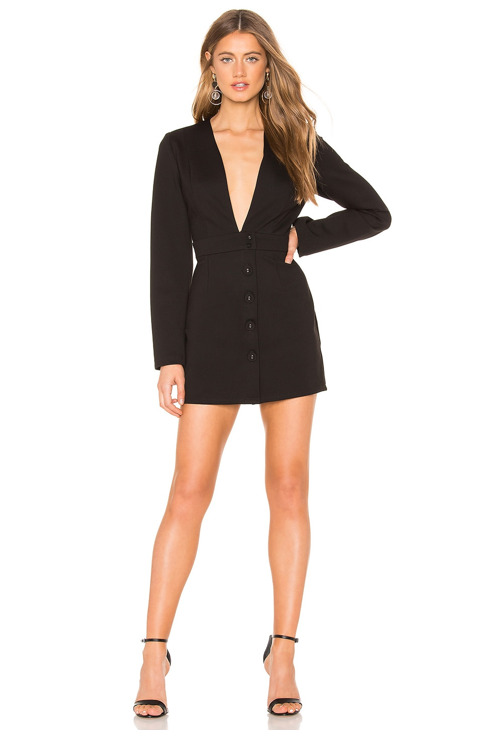 KRISA Deep V Blazer Dress in Black